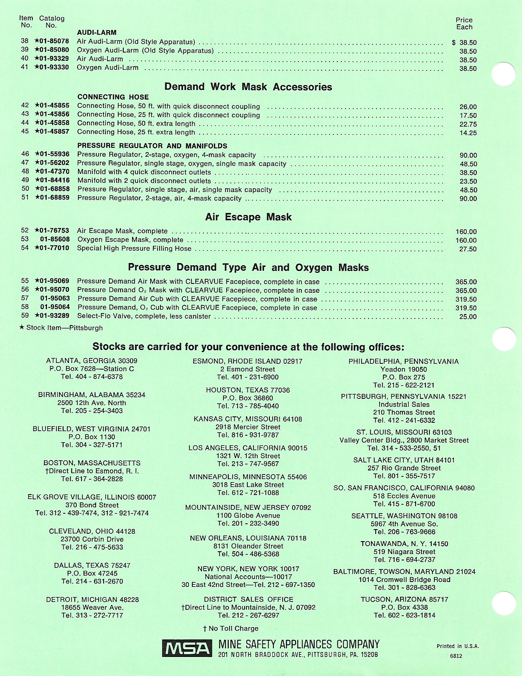 MSA Pricing List 19680002 – Star City Fire and EMS